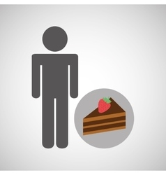 silhouette man chocolate cake dessert vector image
