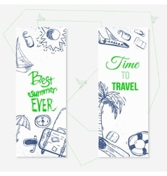 summer travel doodle banners with boat vector image vector image