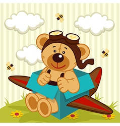 Teddy bear made plane vector