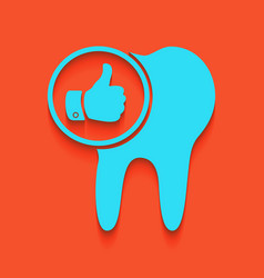 Tooth sign with thumbs up symbol whitish vector