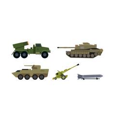 types of modern armament flat set vector image
