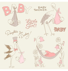 vintage baby girl shower vector image vector image