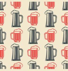 vintage beer glasses semless pattern vector image vector image