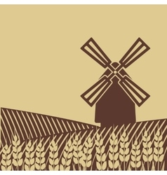 Windmill in wheat field vector