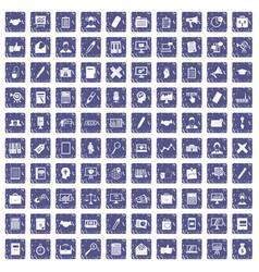 100 finance icons set grunge sapphire vector