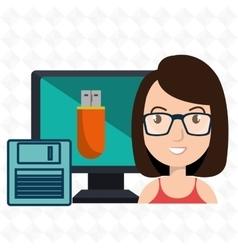 woman computer floppy usb vector image