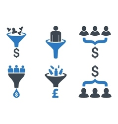 Sales Funnel Flat Icons vector image