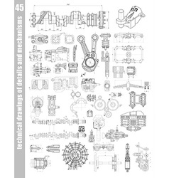 set of technical drawings vector image