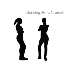Woman in standing arms crossed pose vector