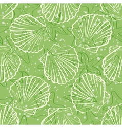 Seamless background outline seashells vector