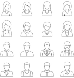 Various people icons set outline style vector image