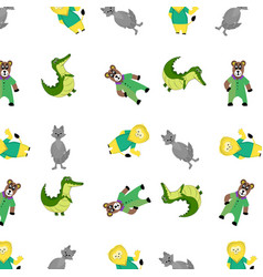 Zoo pattern with cartoon animal vector