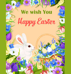 Happy easter wishes greeting card bunny egg vector