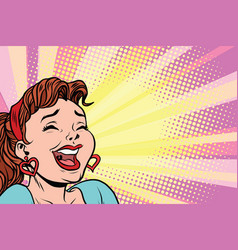 Young woman laughs style pop art poster vector