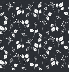 White leaves and dogrose seamless pattern vector