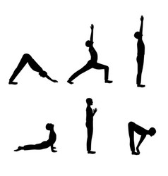Set of men yoga poses vector