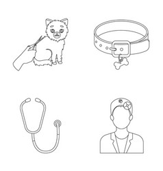Collar bone cat haircut vet clinic set vector