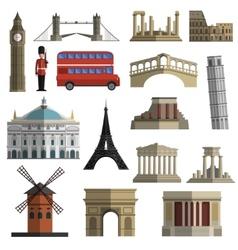 Travel landmark flat icons set vector image