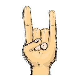 Doodle hand sign rock n roll music vector