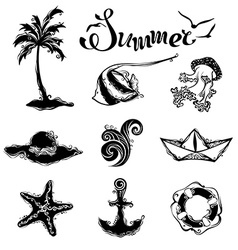 Set of summer and travel icons vector