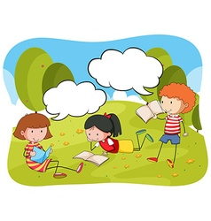 Children reading book in the park vector
