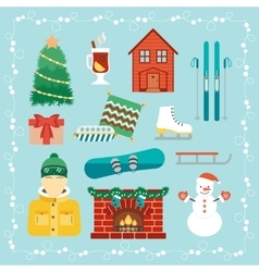 Christmas holidays icons winter holidays vector