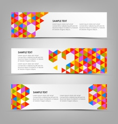 Abstract horizontal banners with colored triangles vector