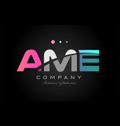 Ame a m e three letter logo icon design vector