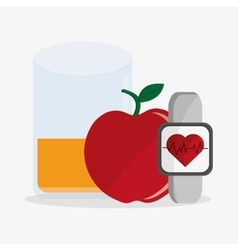 Apple juice watch and fitness design vector