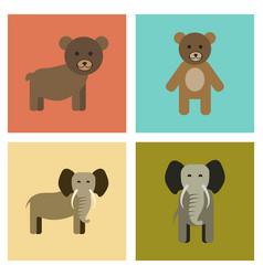 assembly flat icons nature bear elephant vector image