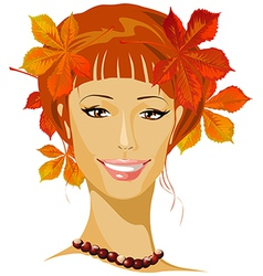 Autumn beautiful woman portrait vector