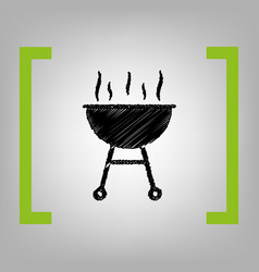 Barbecue simple sign black scribble icon vector