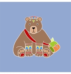 Bear wearing tribal clothing vector