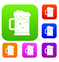 beer mug set color collection vector image