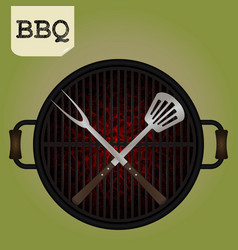 Big fork and spatula crossed on grill - top view vector
