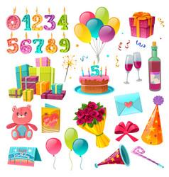 celebration birthday cartoon set vector image vector image