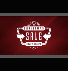 Christmas sale sticker label design on window vector
