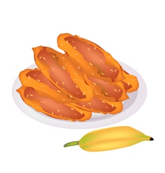 Delicious fried bananas on a white dish vector