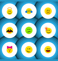 Flat icon emoji set of angel laugh hush and vector