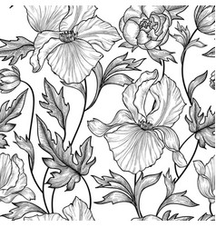 floral seamless pattern flower background engrave vector image vector image