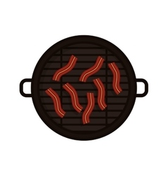 Food grilled with bacon strips vector