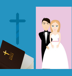 Get married couple bible cross sacred card vector