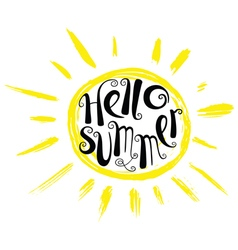 Hello summer lettering with sun vector image vector image