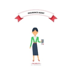Insurance agent woman reliablity design flat vector