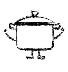 kitchen pot kawai character vector image