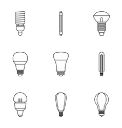 Lamp icons set outline style vector image vector image