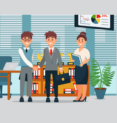 meeting business people characters in office vector image vector image