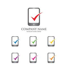 mobile check logo vector image vector image