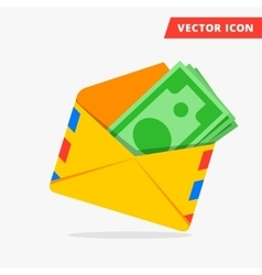 Money in post envelope flat icon vector image