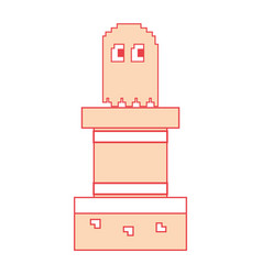 Pixel ghost game play character arcade vector
